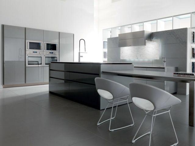 Cuisine Blanche Et Grise   Designs Modernes Et lgants  Cuisine