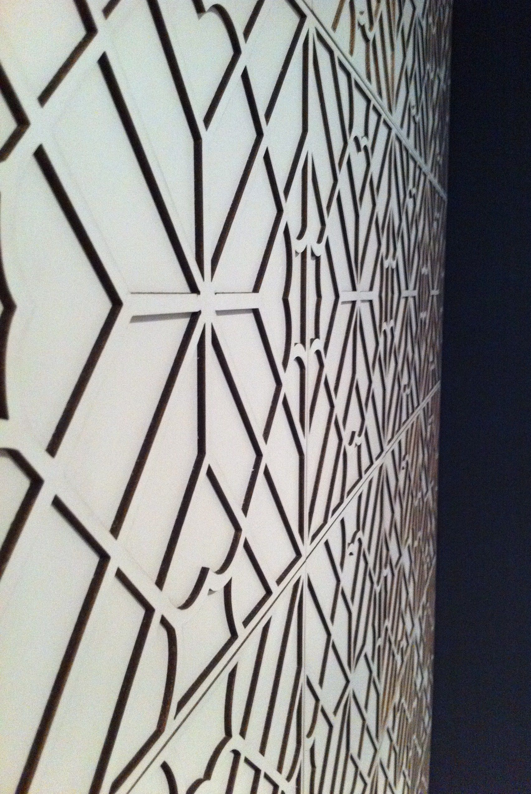 Amazing leather paneled wall im loving the geometry in this pattern by genevieve bennett