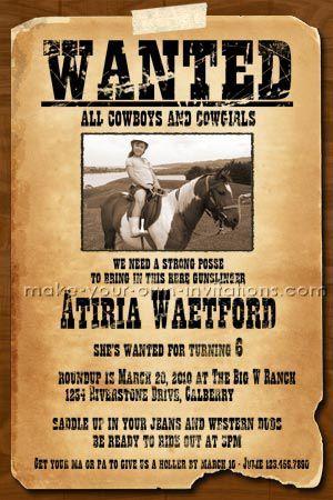 wanted poster cowboy birthday invitations keke pinterest party