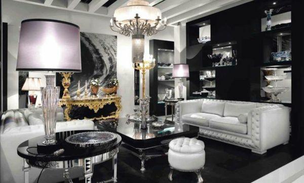 wohnzimmer in schwarz und weiß ledersofa tische kronleuchter - wohnzimmer ideen schwarz