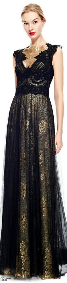 Marchesa ● Pre-Fall 2014, Metallic Lace Gown