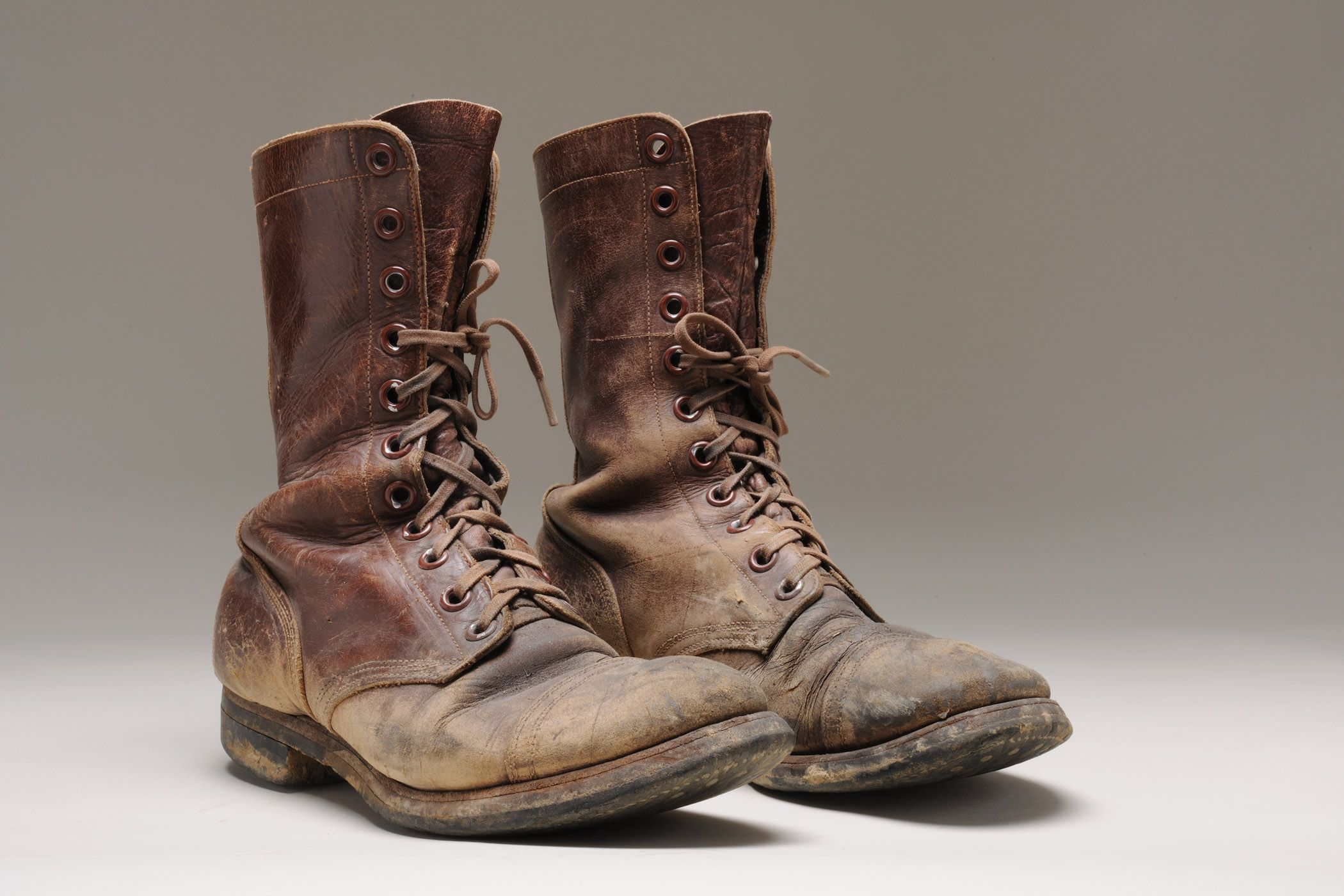 Boot 1950 1955 Mens High Topped Leather Army Boots High Uppers Of Brown Leather Have Round Reinforced Toes And Heels They L Boots Army Boots Combat Boots