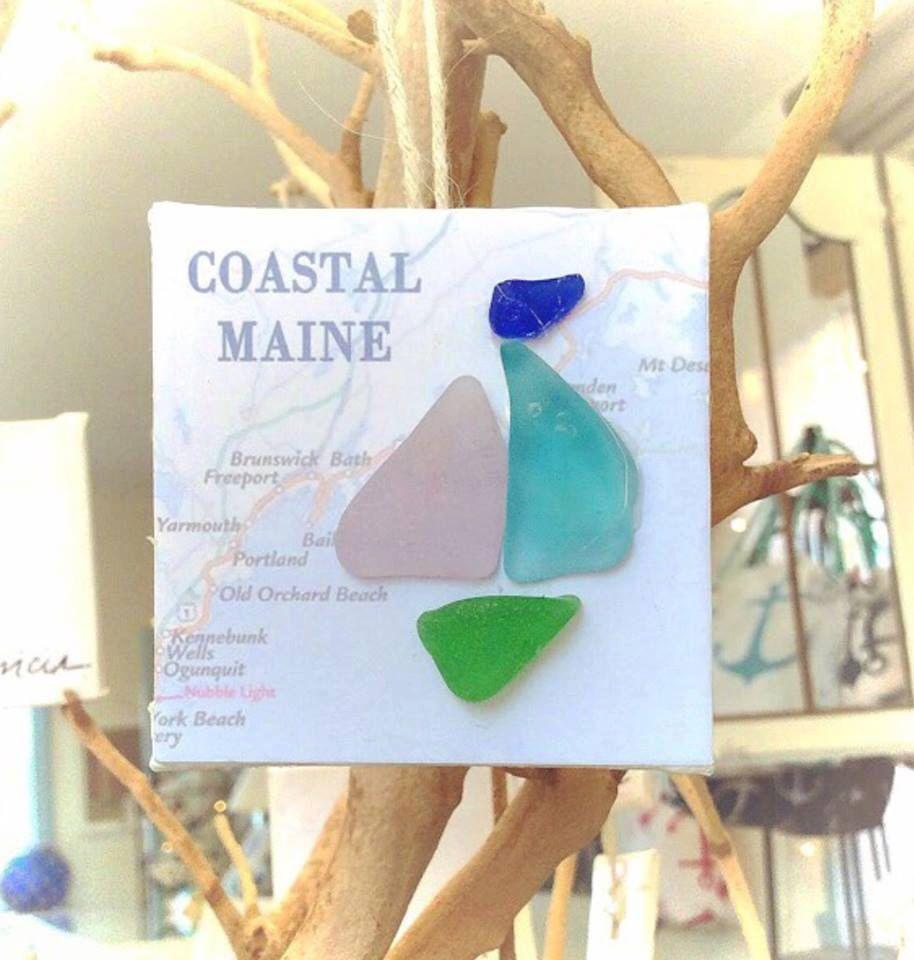 Coastal nautical sea glass sailboat ornament from portland