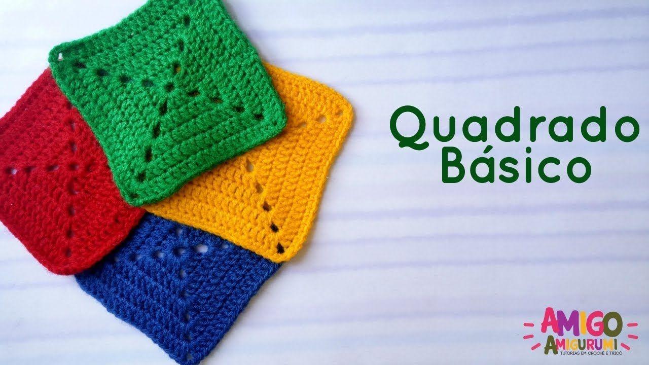 Quadrado Básico Crochê Passo á Passo Quadrados De Croche Quadradinhos De Croche Tapetes De Croche Colorido