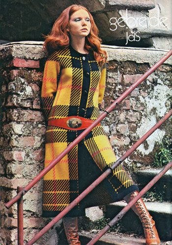 Vintage knitted coat from a 1970s Dutch craft magazine. 1971.