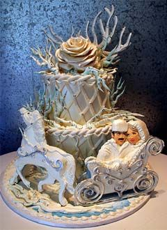 Two Tier Russian Winter Theme Wedding Cake With A Horse And Carriage Decorated