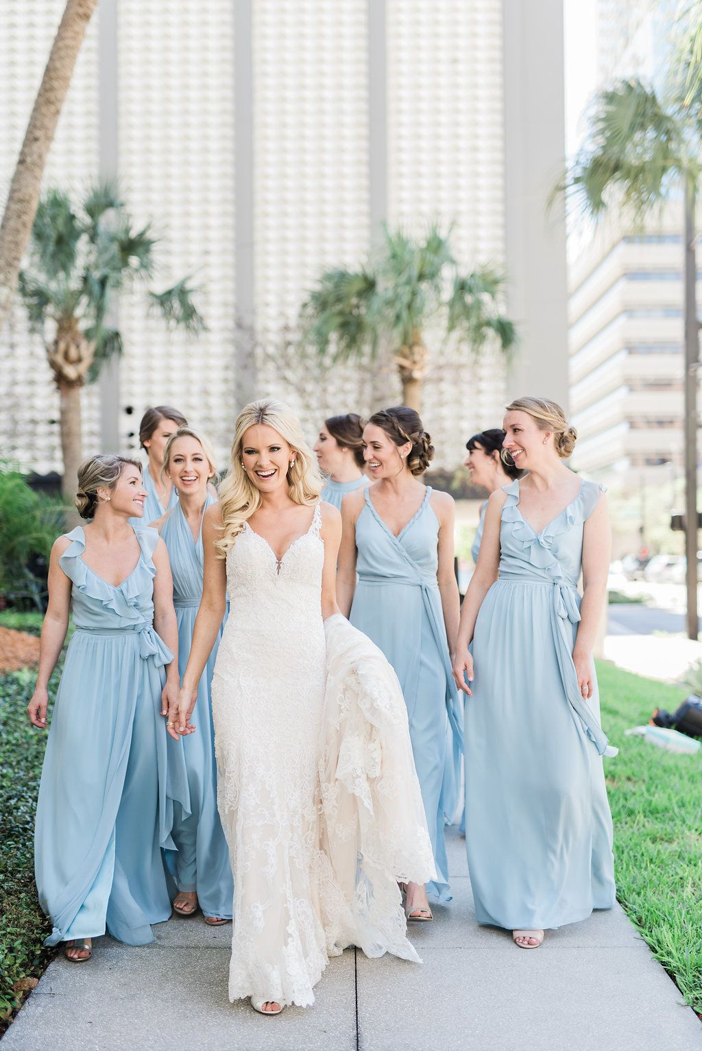 Uptown Chic Meets Rustic Farmhouse With This Glamorous Affair Baby Blue Bridesmaid Dresses Pastel Bridesmaid Dresses Light Blue Bridesmaid