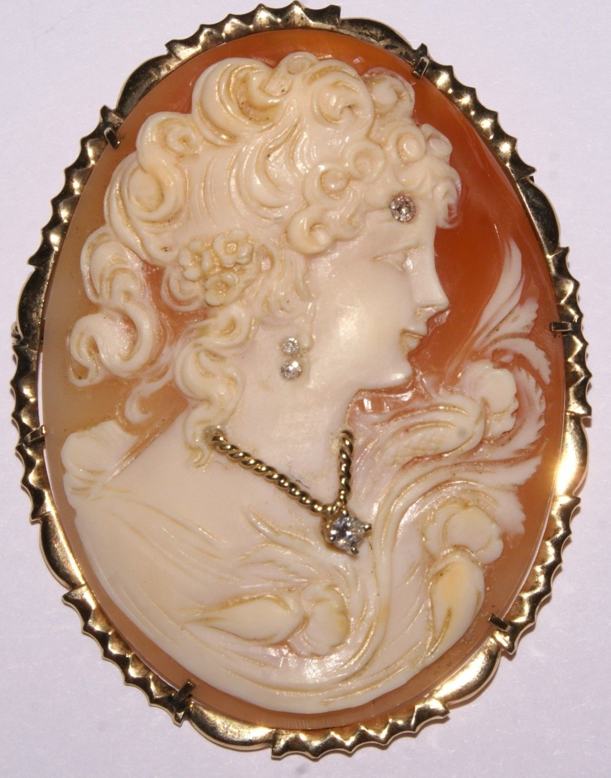 Antique victorian ladies 14k yellow gold cameo pendant brooch w 4 antique victorian ladies 14k yellow gold cameo pendant brooch w 4 diamonds ebay mozeypictures Choice Image