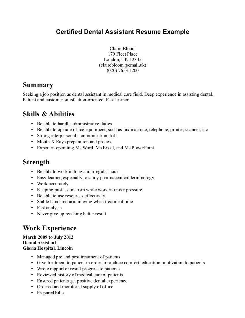 Dental Assistant Resume Resume Job Resume Examples Resume