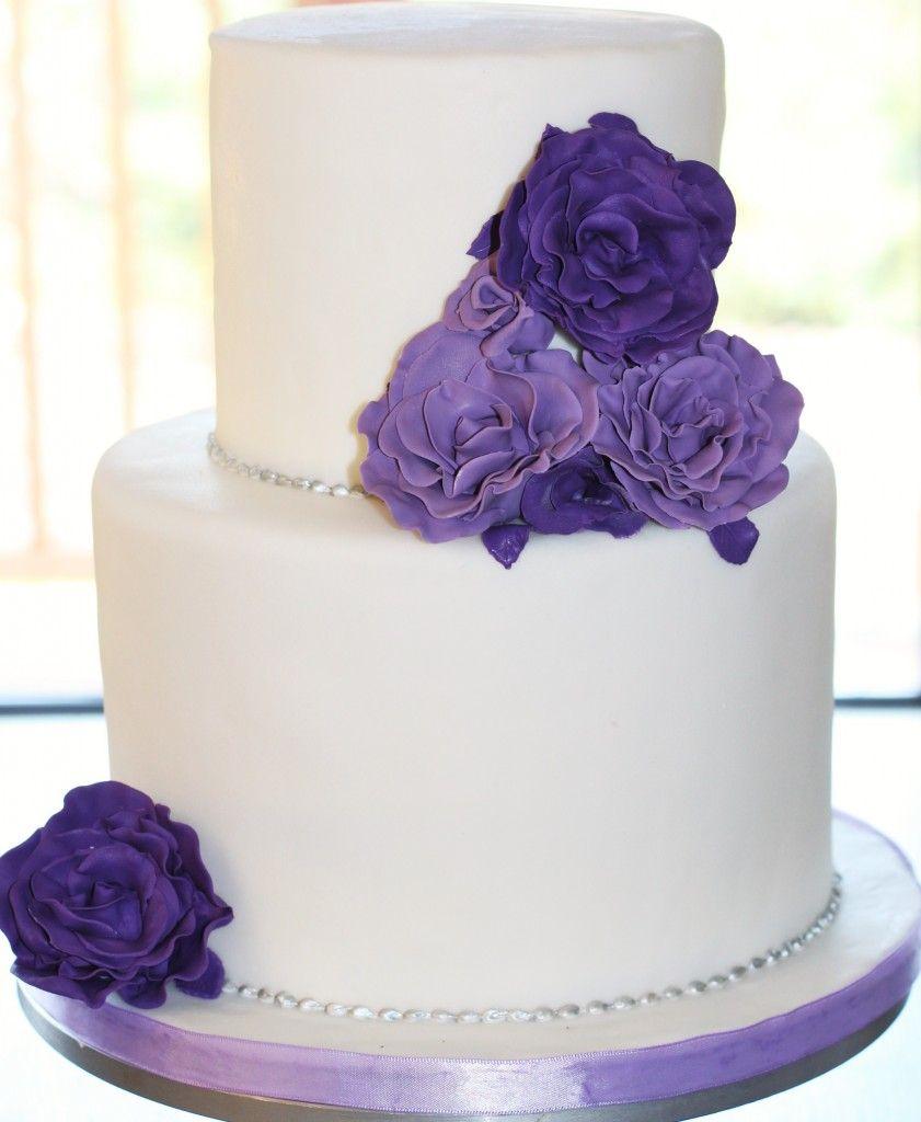 White Wedding Cake With Purple