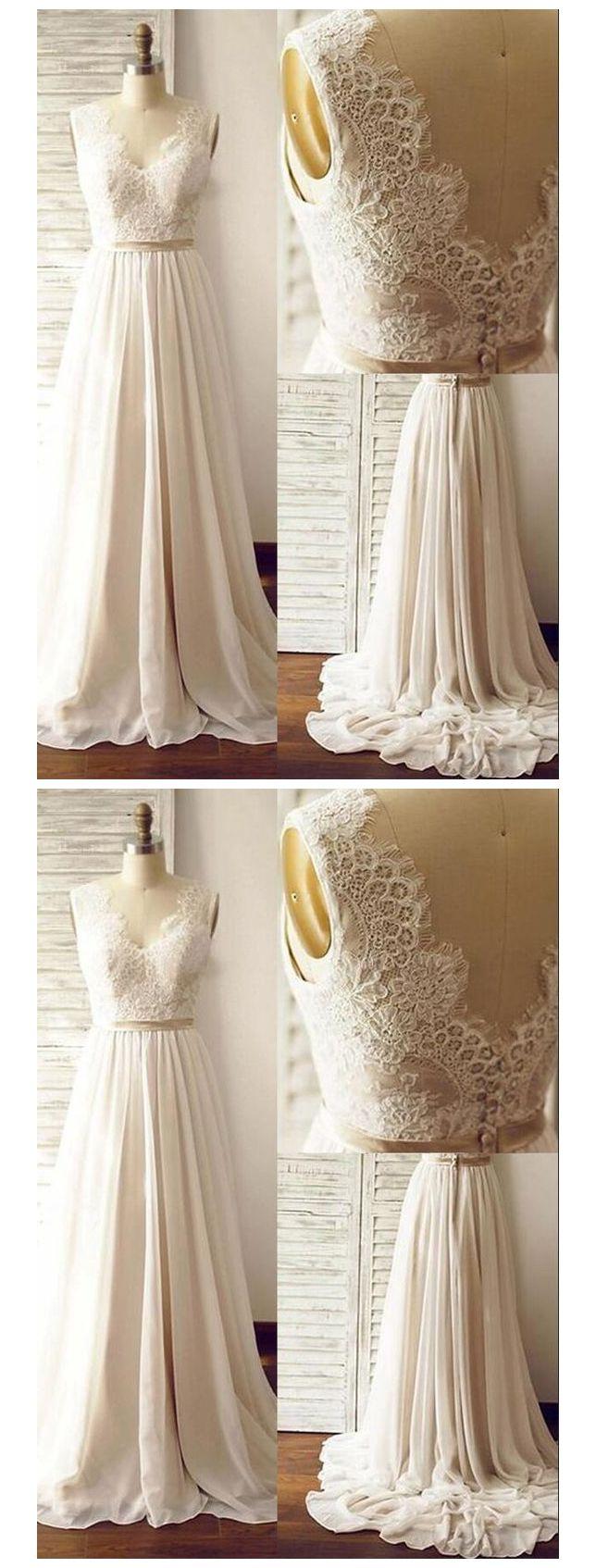 Ivory beach wedding dresses  Aline Vneck Chiffon Skirt Beach Wedding Dresses Lace Bodice Bridal