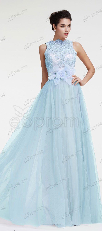 Light blue beaded lace modest evening dress plus size formal dress ...