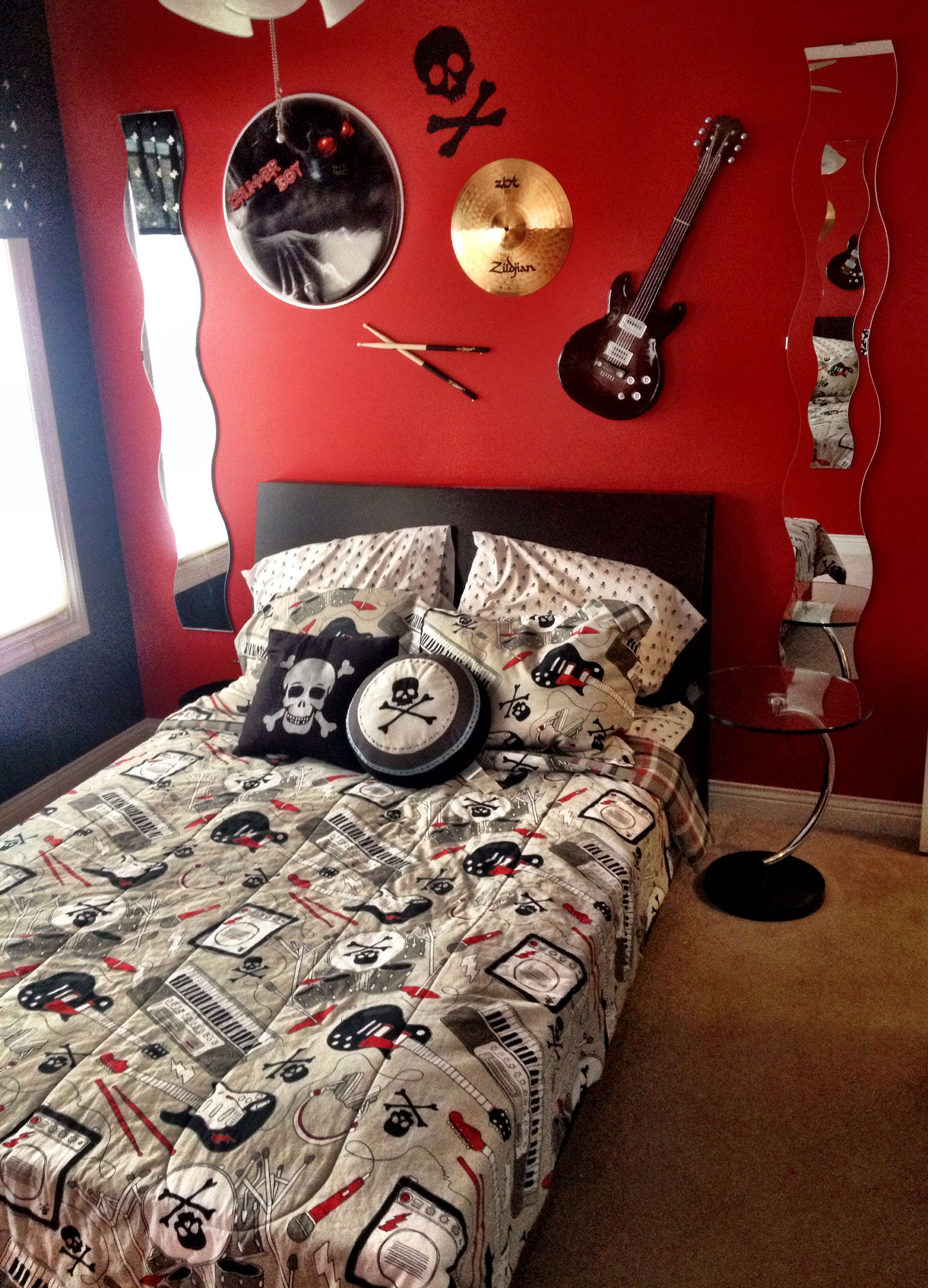 Rock And Roll Themed Room My Son 39s Rockstar Themed Bedroom Custom Drumhead Design