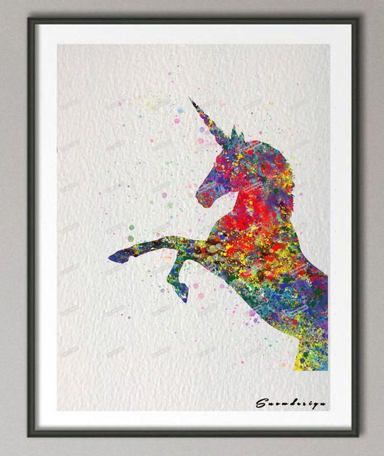 Licorne Aquarelle Toile Peinture Mur Art Affiche Imprime Des