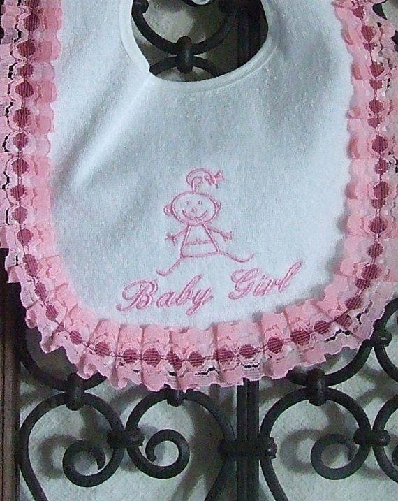 Pink Ruffle Baby Girl Bib