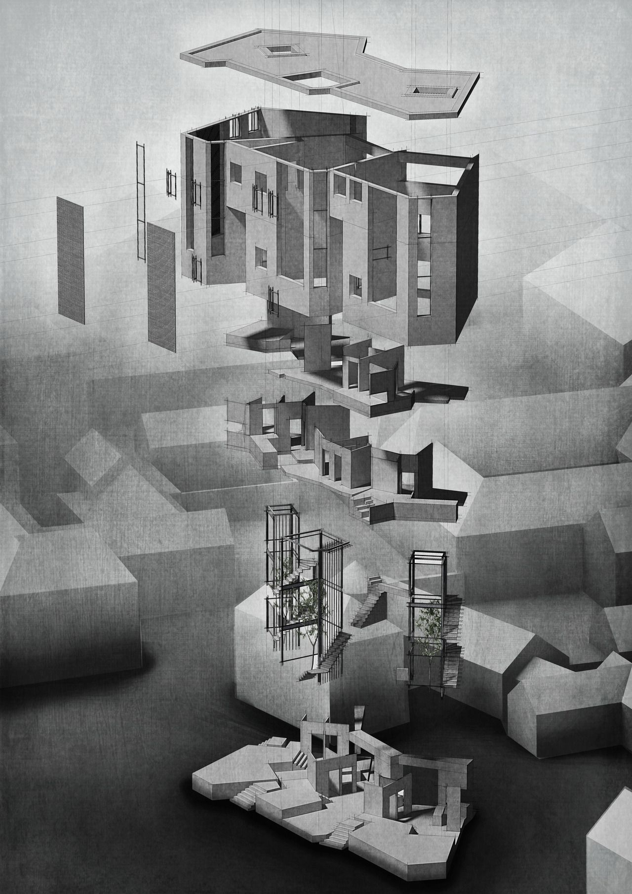 The ArchitectuExploded Perspective by Ewan HooperRoof Folded Casing Interior Planar Structure Atriums Anchor Circulation Eroded Plinth ral Review's Folio