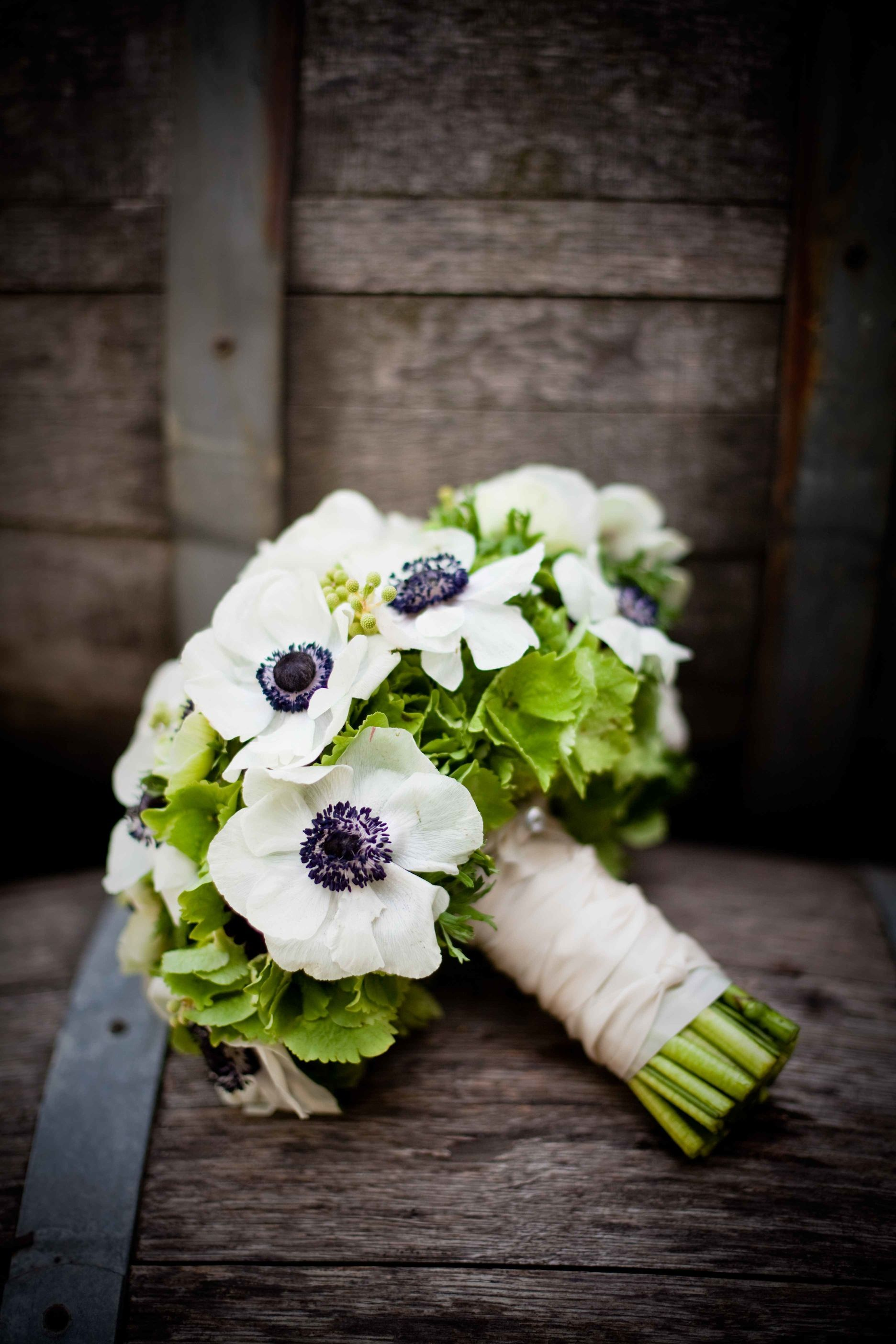 Des fleurs comestibles pour mon mariage white anemone green the bridesmaids bouquets will be green hydrangeas and white anemones wrapped in black ribbon izmirmasajfo