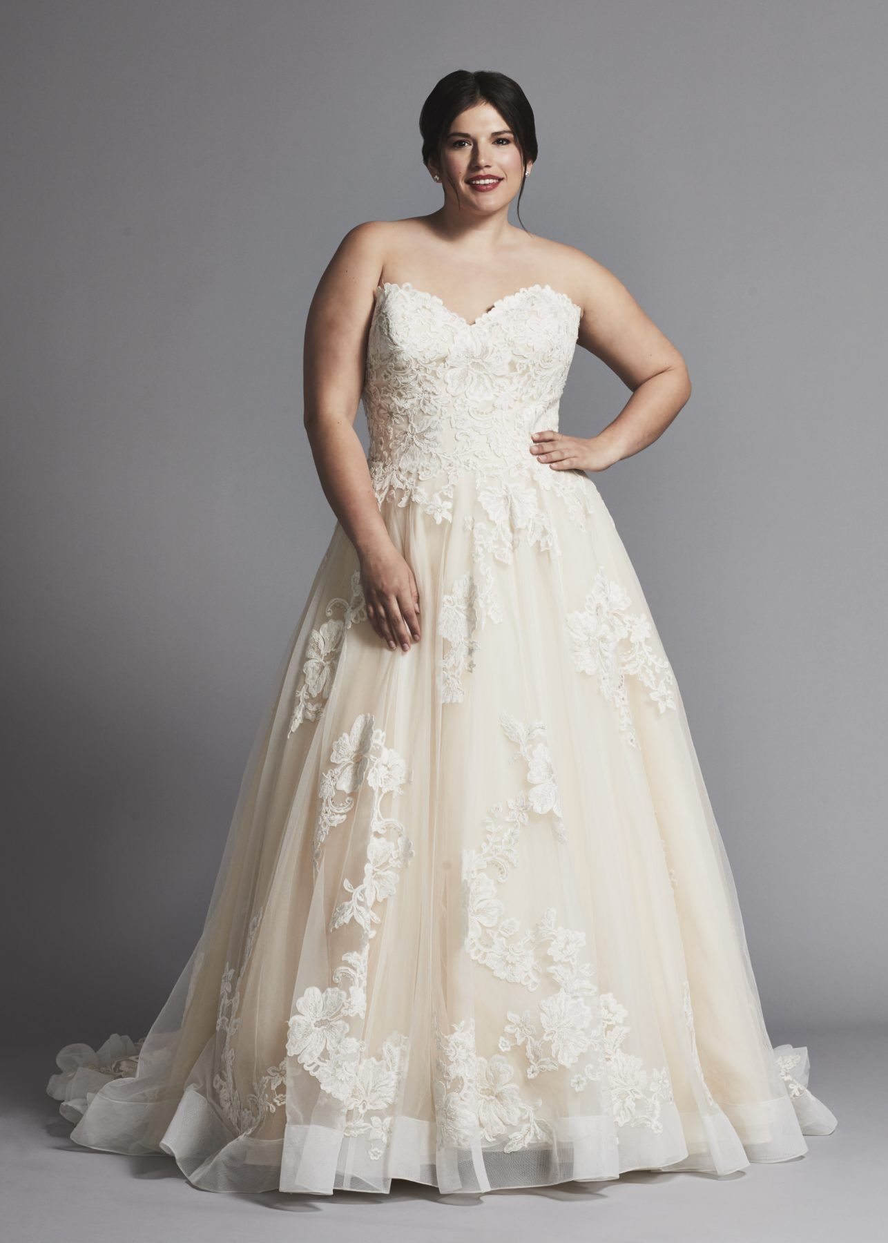 3047312a340 Strapless A-line lace wedding dress with tulle skirt and horsehair trim in plus  size.