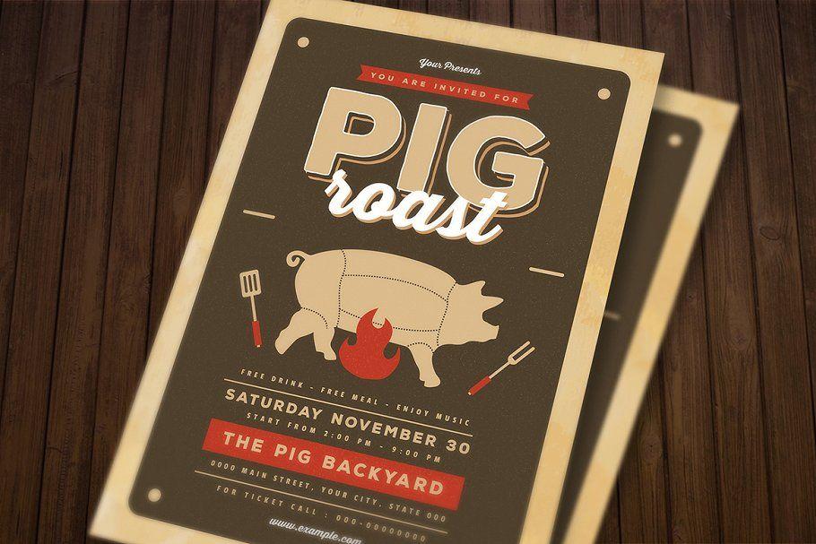 pig roast flyer roast pig templates flyer flyer templates in 2018