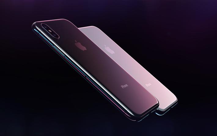 66fdc65151a Descargar fondos de pantalla Apple iPhone X, moderno samrfton, 4k, negro,  gris, nuevo iPhone X