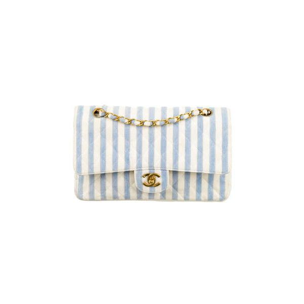e7f75da374 Chanel Medium Striped Double Flap Bag ($1,695) ❤ liked on Polyvore  featuring bags, handbags, chanel, striped handbags, striped bag, chanel  purse and chanel ...