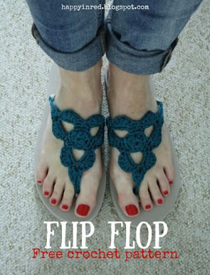 Crochet flip flops, free pattern   Fußschmuck, Schuhe und Häkeln