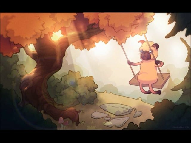 When no one sees, the pug goes to the forest to swing.  Flash for animation Photoshop for background