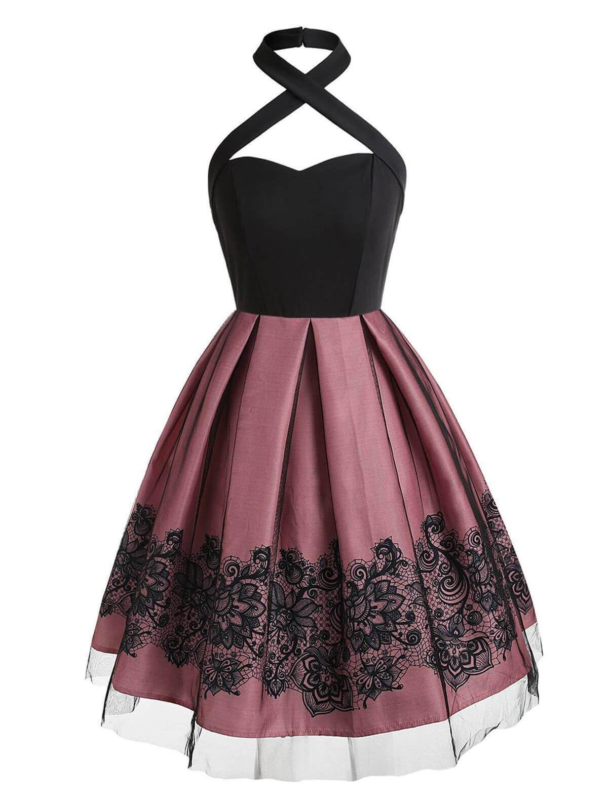 1950s Halter Patchwork Swing Dress