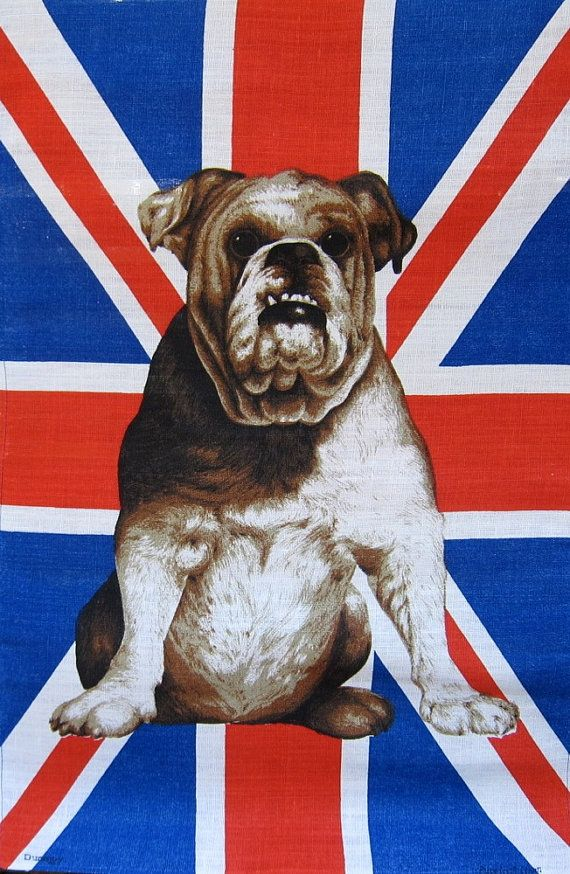 Vintage Union Jack Irish Linen Tea Towel Bulldog Proud Brit