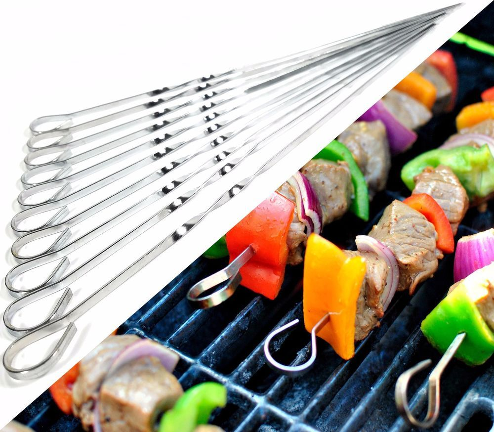 6 x LONG METAL BBQ BARBECUE KEBAB FOOD MEAT GRILL STICKS SKEWERS COOKING
