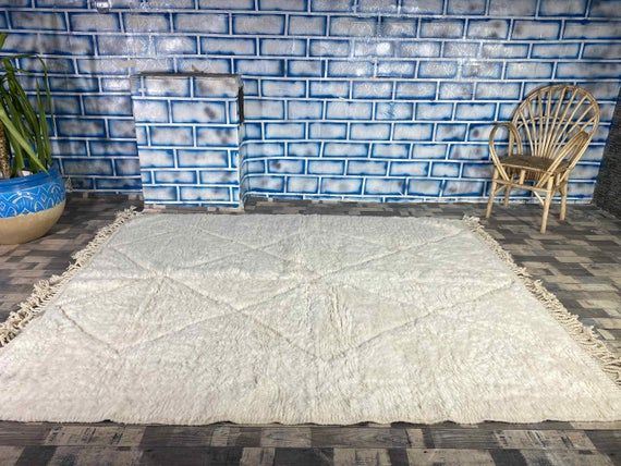 White Moroccan Rug Beni Ourain Soft Wool Beni Carpet Handwoven by Berber Women from Morocco