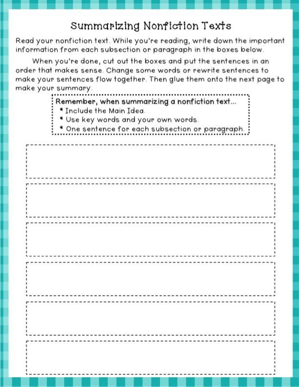 2nd grade summarizing worksheets