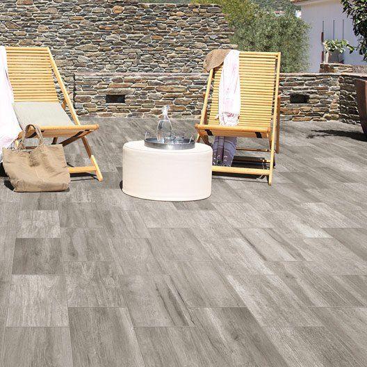 LEROYMERLIN Carrelage sol gris effet bois Way l15 x L90 cm 31,95