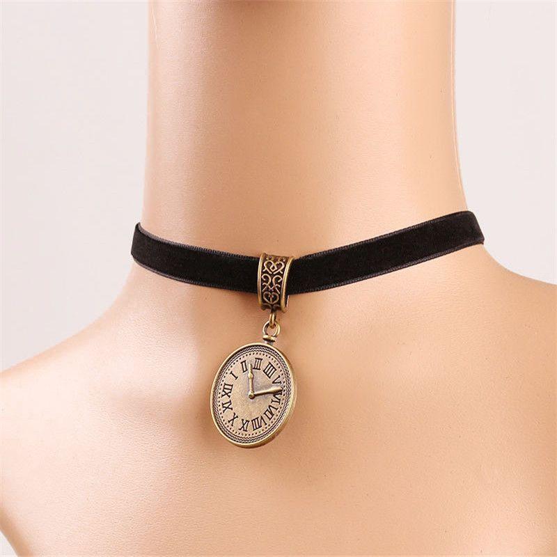 Danze Vintage Women's Black Velvet Choker Necklace With Round Clock Watch Necklaces Pendants Trendy Jewelry Collier ras du cou