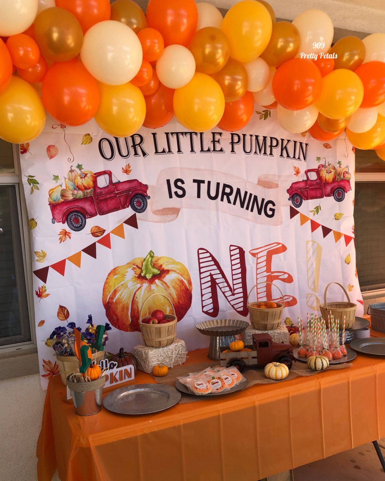 Includes Cake Topper Banner and Balloons Pumpkin Birthday Decorations Kit Fall Pumpkin Themed Kids Bday Party Supplies