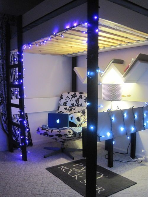 cute room bed on top and work space on bottom with lights going around awesome bedrooms. Black Bedroom Furniture Sets. Home Design Ideas