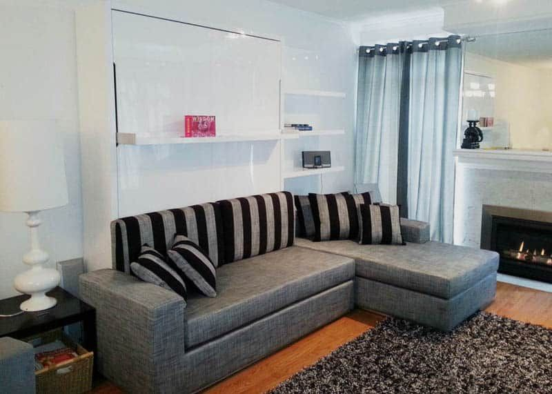 Horizontal Inline Murphy Bed And Inline Sofa Murphy Bed With