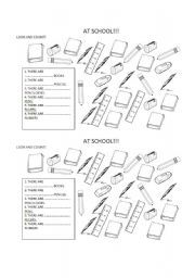 English worksheet: SCHOOL OBJECTS AND NUMBERS 1-10   game Ae ...