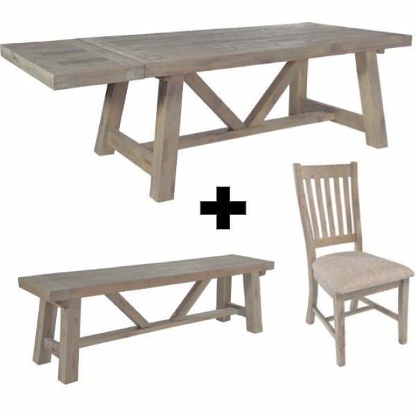 Large Farringdon Reclaimed Wood Trestle Table Dining Set