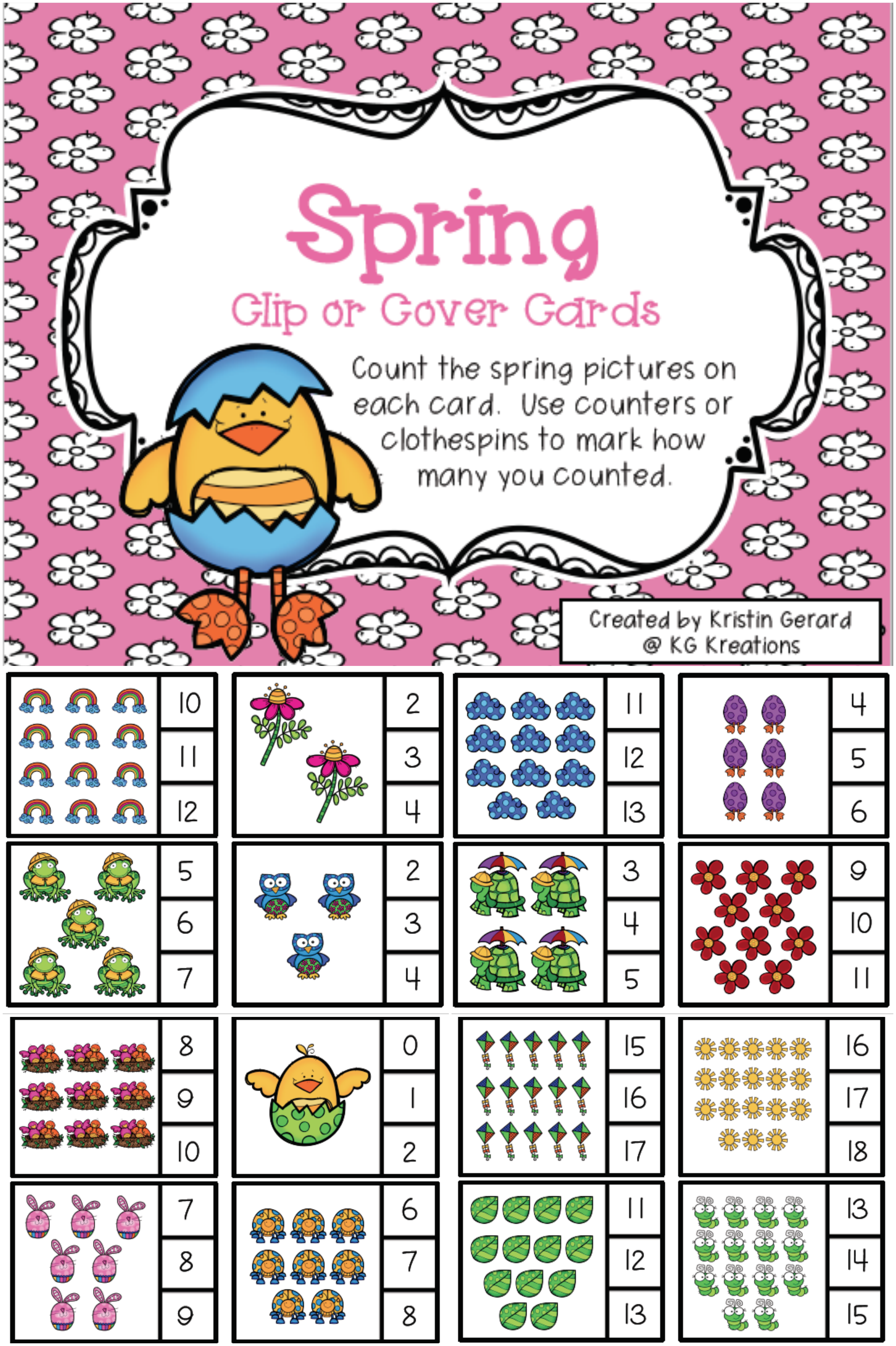 Counting Activities Spring Clip Cards