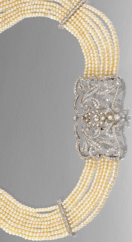 SEED PEARL AND DIAMOND COLLIER DE CHIEN, EARLY 20TH CENTURY.