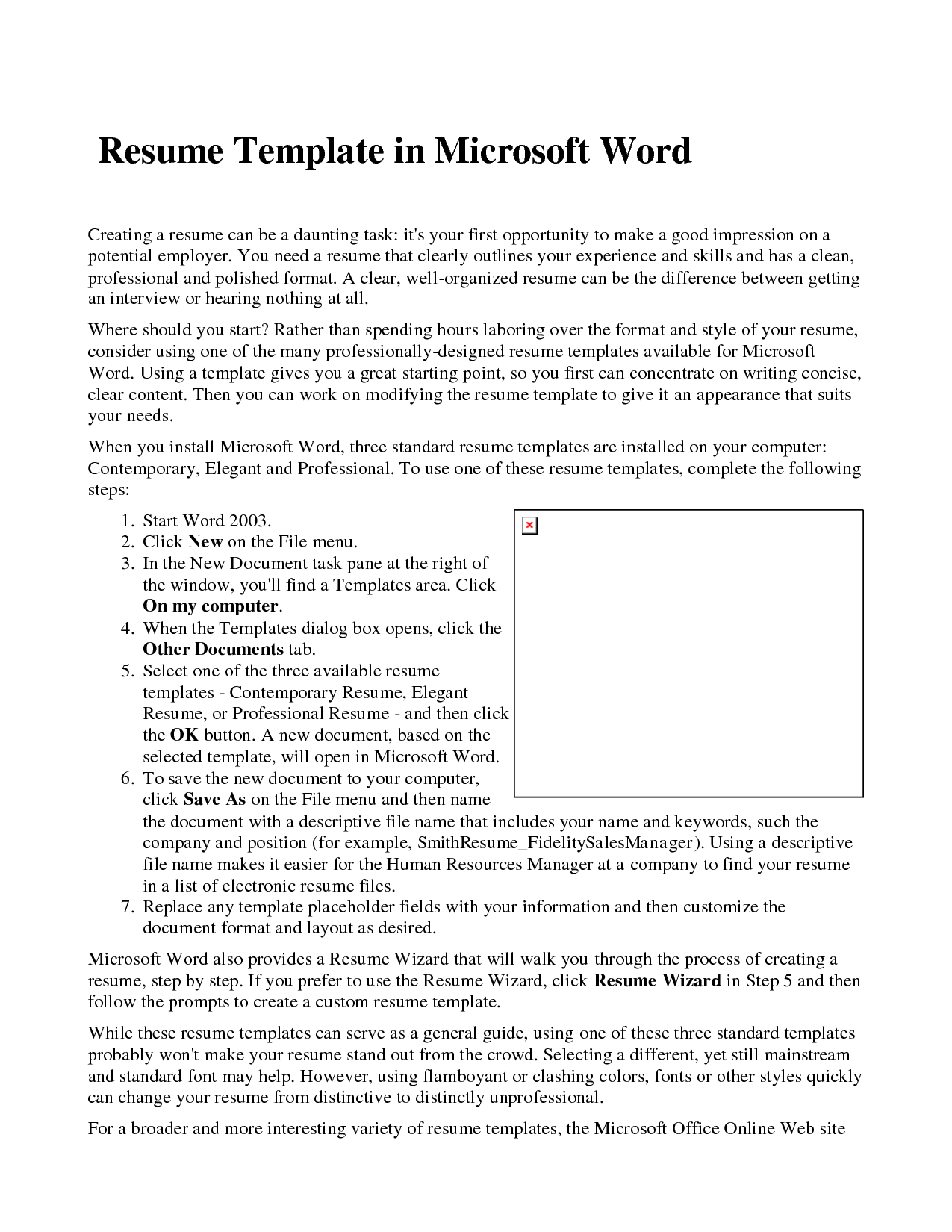 Resume Templates Microsoft Word  HttpWwwResumecareerInfo