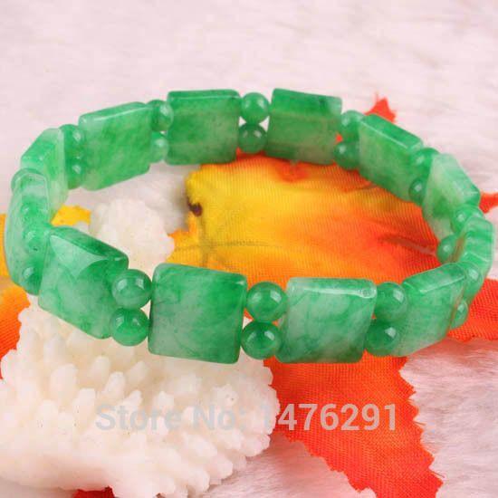 """Pas cher 10 X 10 MM Jade place perles Gems Bracelet Bangle 7 """" livraison gratuite, Acheter  Bracelets rigides de qualité directement des fournisseurs de Chine:                    10x10mm jade carré perles Gems                                              Bracelet bracelet 7&quot"""