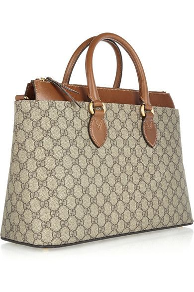 Gucci | Linea A medium leather-trimmed coated canvas tote | NET-A-PORTER.COM