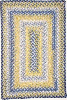cute casual blue and yellow rug for morning room, kitchen or