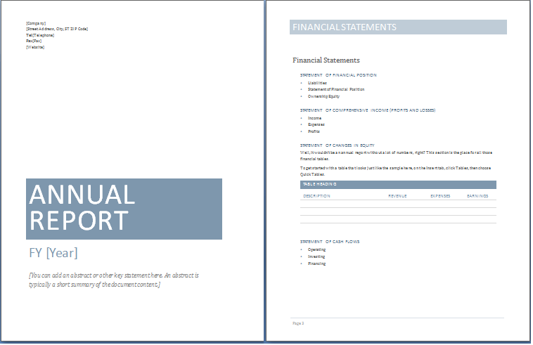 Sample Annual Report Templates Exceltemple Excel Project