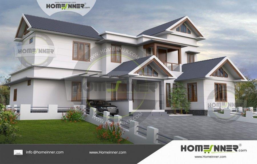 2200 Sq Ft 5 Bedroom Kerala Veedu Style Home Plan Contemporary House Plans House Plans Double House