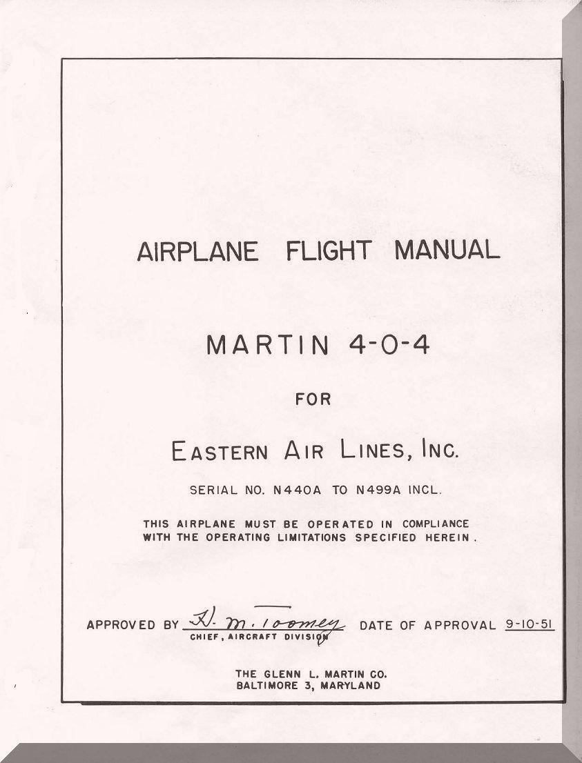 Glenn Martin 404 Flight Manual Eastern Airline - 1951