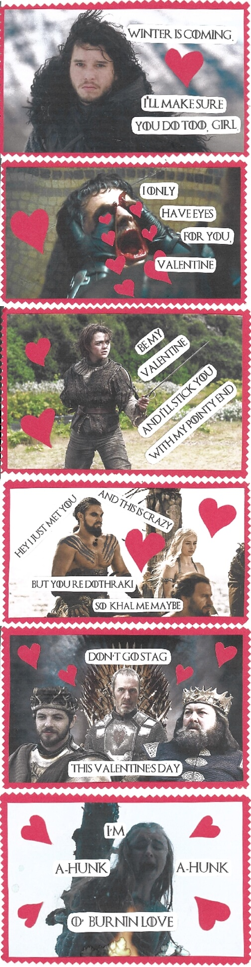 game of thrones valentine's day cards