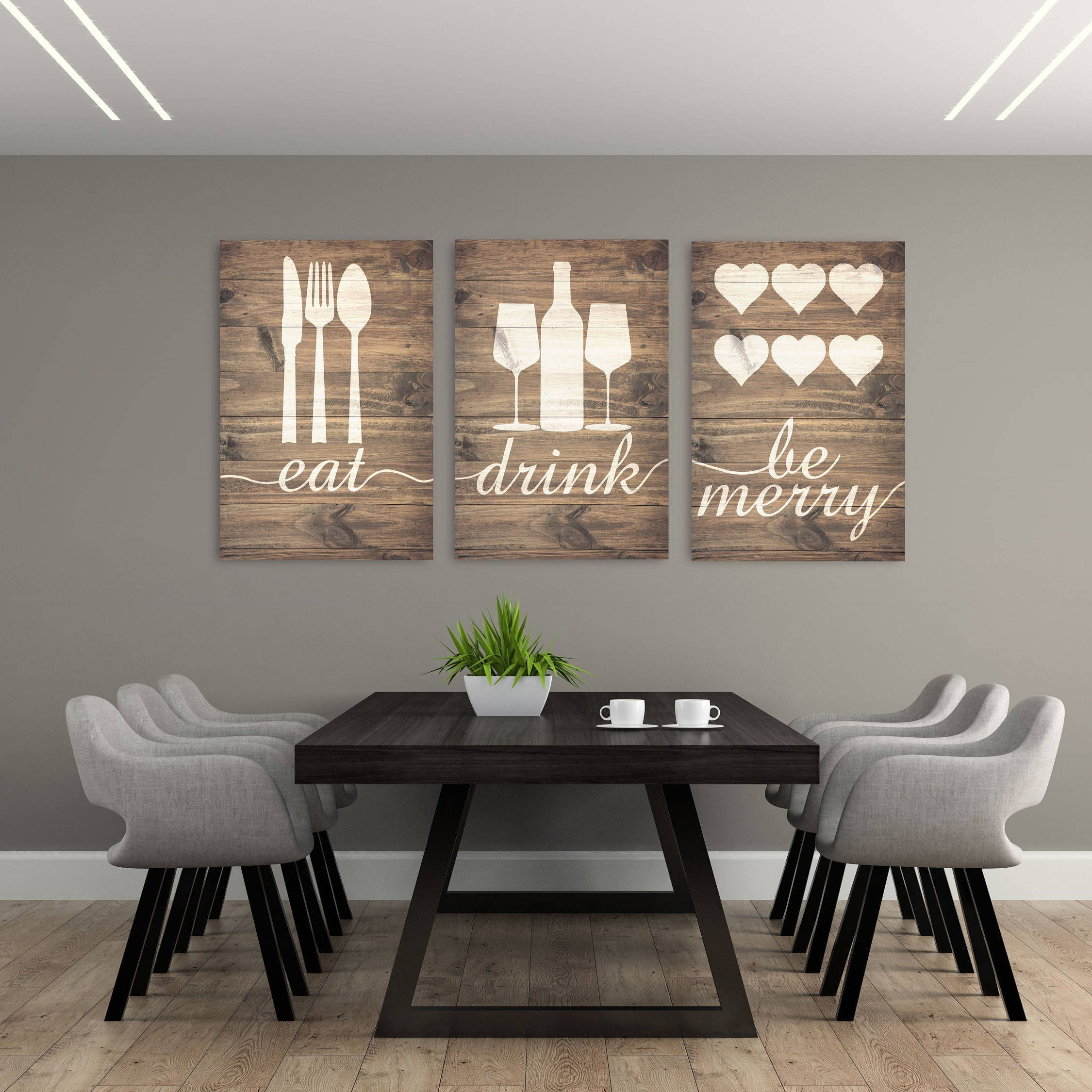 Rustic Eat Drink And Be Merry Canvases Rustichomedecor Dining Room Wall Decor Kitchen Wall Art Diy Kitchen Wall Decor